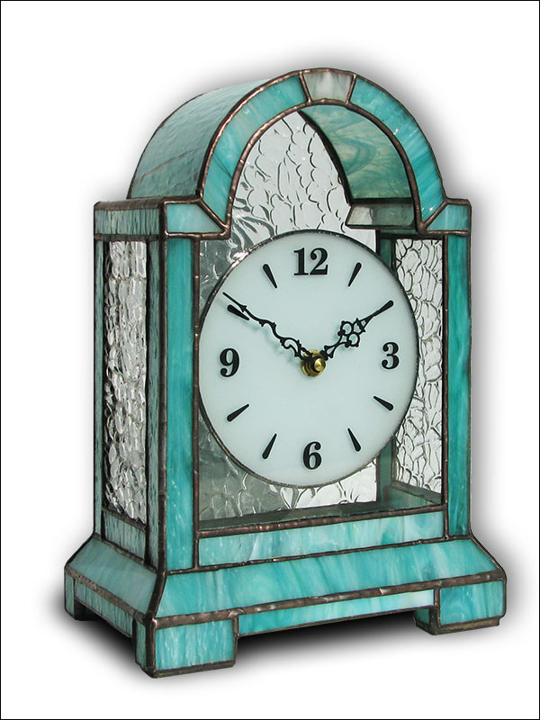 Stained Glass Table Clock, limited edition, Tiffany technique, model Nr. 4752