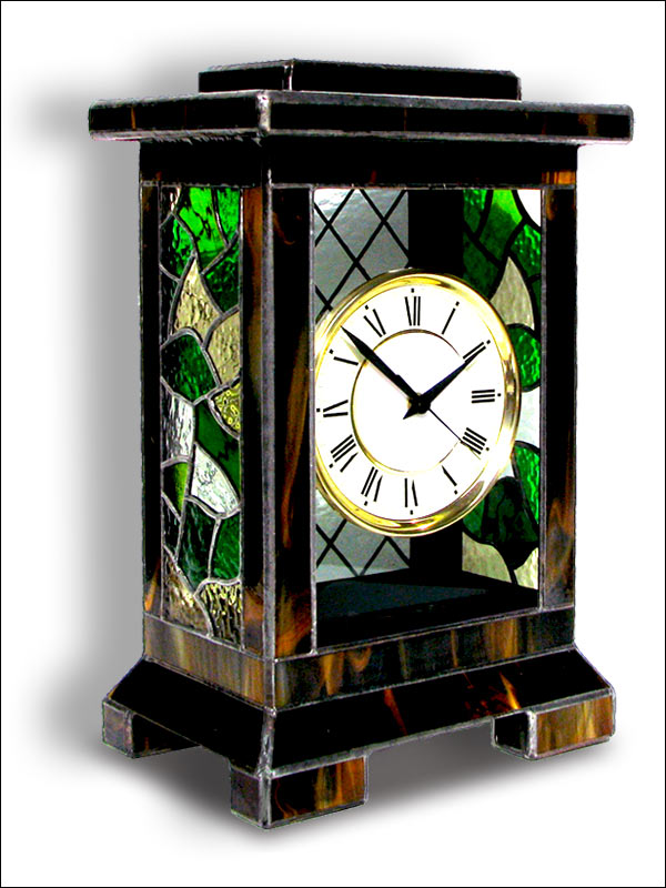 Stained Glass Table Clock, limited edition, Tiffany technique, model Nr. 4761