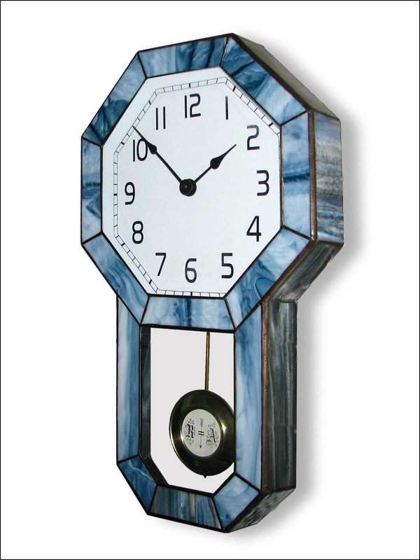 Stained Glass Wall Clock, limited edition, Tiffany technique, model Nr. 4795