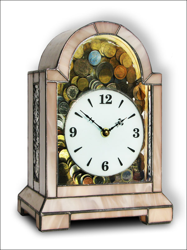 Stained Glass Clock Money Box, limited edition, Tiffany technique, model Nr. 4818