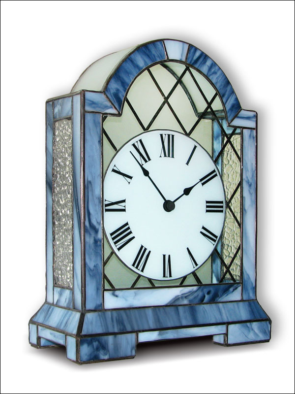 Stained Glass Table Clock, limited edition, Tiffany technique, model Nr. 5064