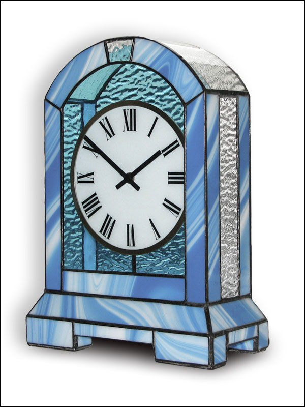 Stained Glass Table Clock, limited edition, Tiffany technique, model Nr. 5078