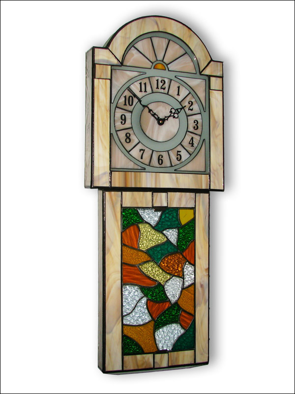 Stained Glass Wall Clock, limited edition, Tiffany technique, model Nr. 5299
