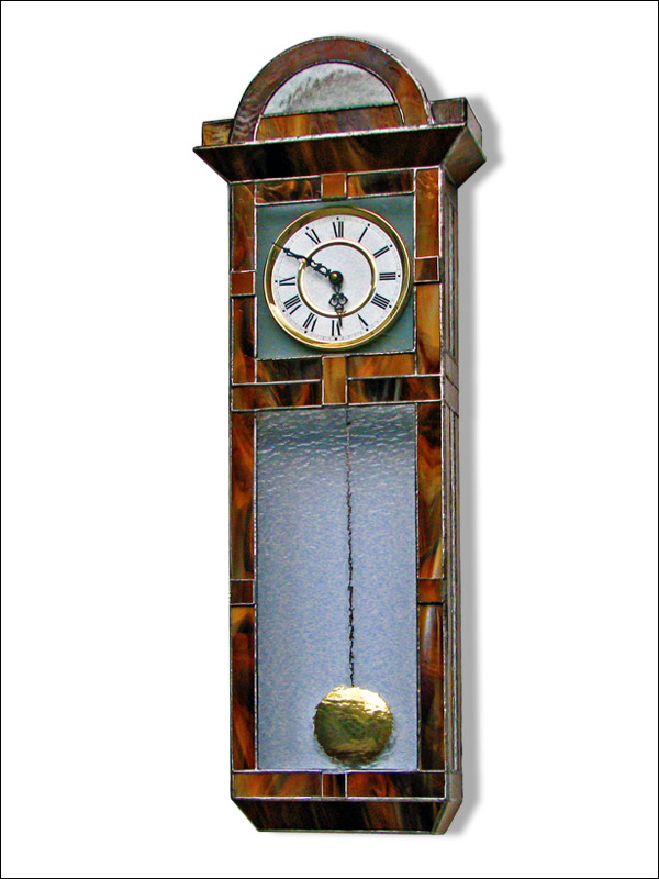 Stained Glass Wall Clock, limited edition, Tiffany technique, model Nr. 5306