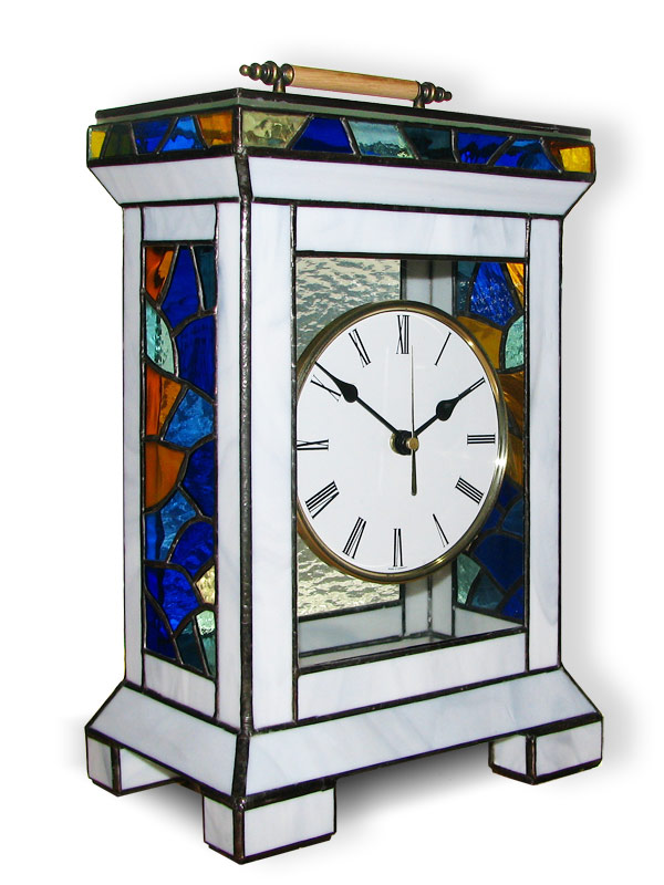 Stained Glass Table Clock, limited edition, Tiffany technique, model Nr. 5338