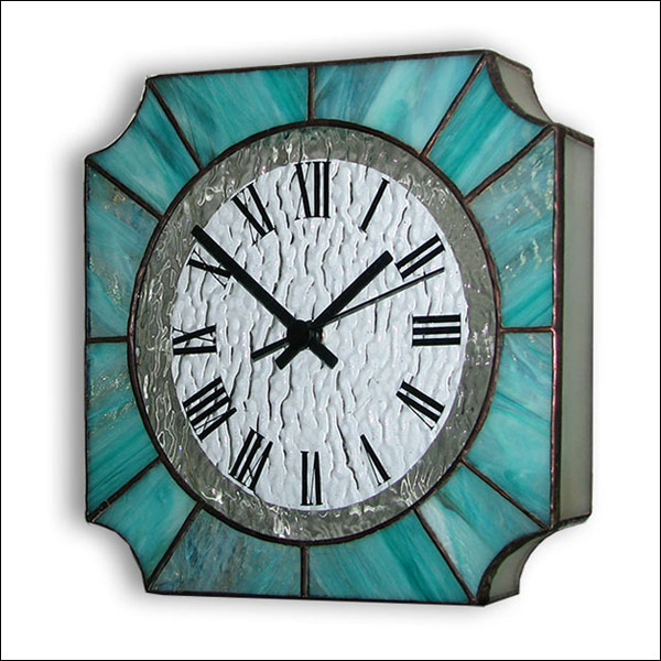 Stained Glass Wall Clock, Tiffany technique, model Nr. 7040